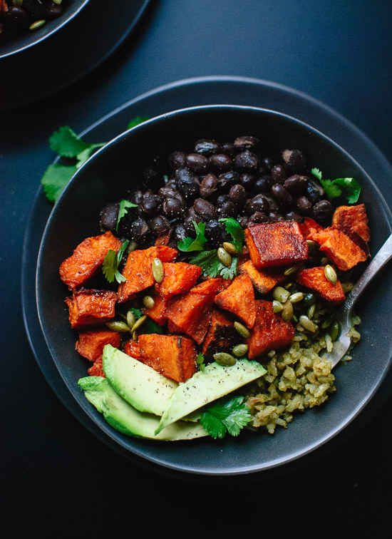 Sweet Potato and Green Rice Burrito Bowls