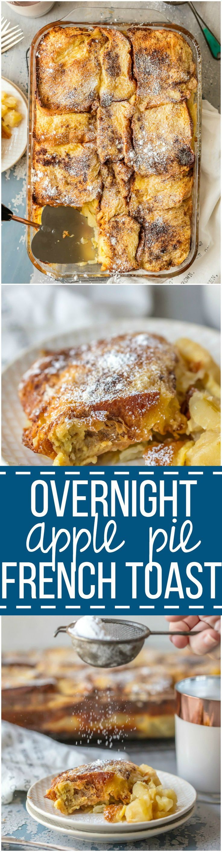You'll crave this APPLE PIE OVERNIGHT FRENCH TOAST CASSEROLE every morning! It's the perfect make ahead breakfast for guests or your family. Brioche, eggs, apples, spices, and more. Just too good.