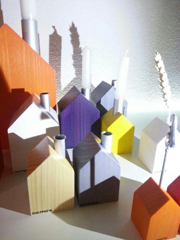 Colorful wooden houses for decoration. www.cultform.de