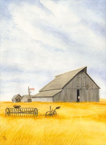 Good old days: Watercolor Wond, Barn Paintings, Barns Paintings, Watercolors, Barns Doors, Water Colors, Peterson Watercolor, Country Barns Extraz, Old Barns
