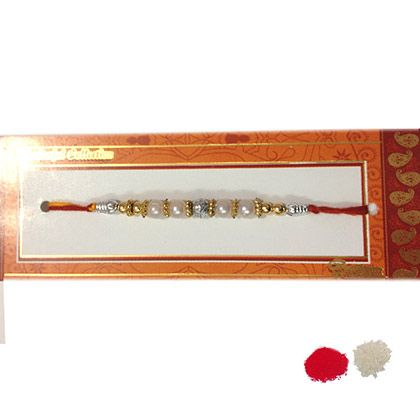 Buy White Silver Beaded #Rakhisets at http://rakhi.giftalove.com/rakhi-sets-854.html