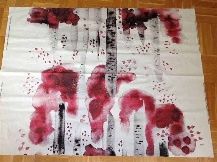 """Designtyg """"Björkar"""" från Arvidsson Textil, tex till tygtavla el kuddfodral"""
