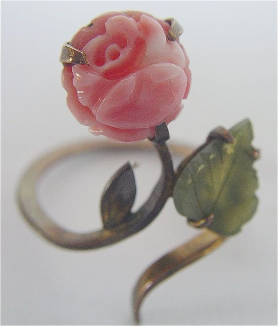 vintage coral and jade carved ring