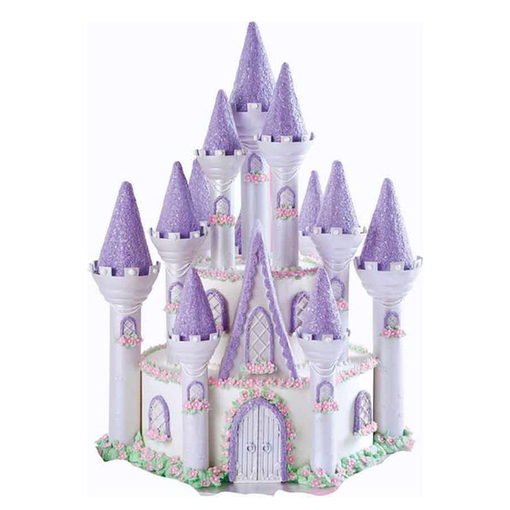 This bold Camelot castle with flag-topped towers will make her day.  It's the ultimate princess palace with 11 sparkling peaked towers, sprays of fondant flowers and windows laced with lattice.