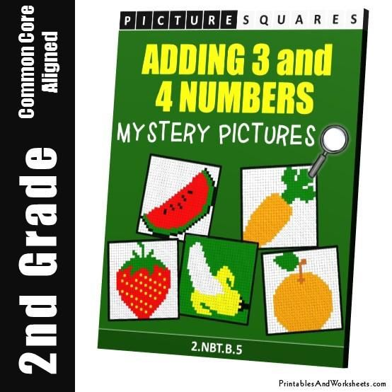 2nd Grade Adding 3 to 4 Numbers Mystery Pictures Coloring Worksheets - Printables & Worksheets