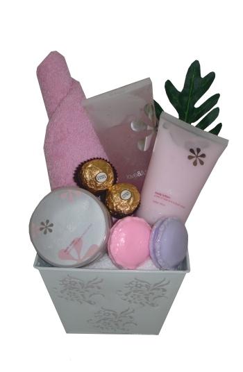 Love & Fun Pamper Pack    $48.00  Floral Bucket  Cotton hand towel  Love & Fun body lotion  Love & Fun body scrub  2 Macaroon Soaps  2 Ferrero rocher chocolates  Love & Fun bath salts