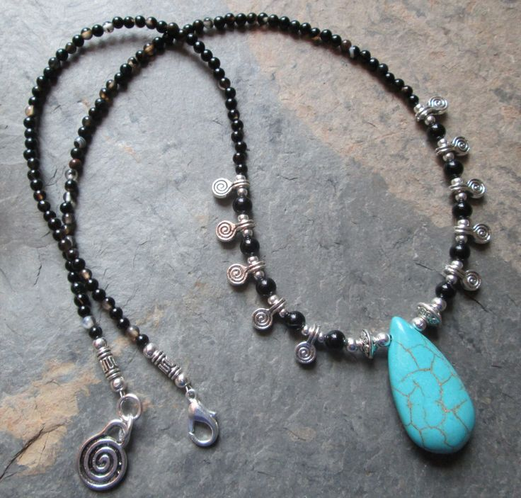 Spiritual Dimension ~ Agate & Turquoise Howlite necklace - Bohemian style jewelry by PumpkinHollowCreatns on Etsy