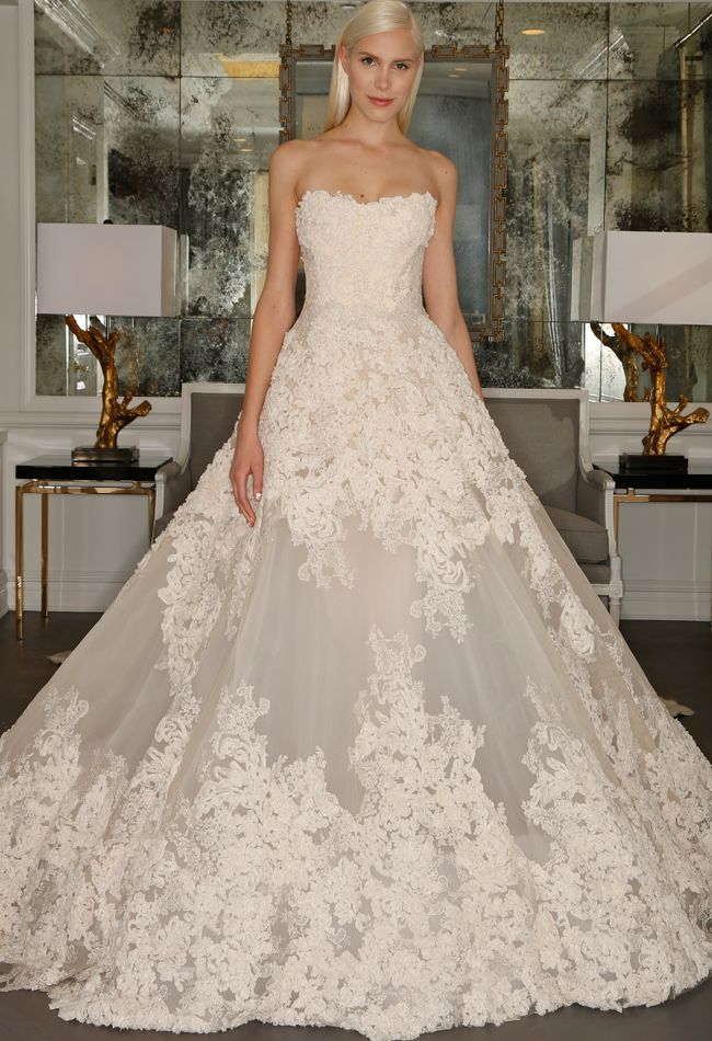 chantilly lace strapless ball gown wedding dress romona kaveza collection fall 2015 blog