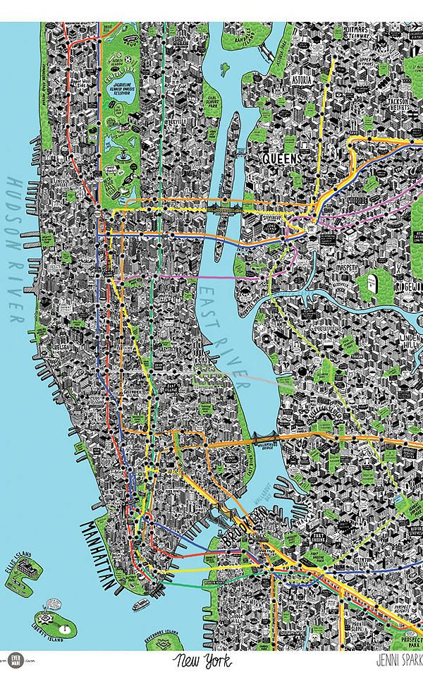 A Gloriously Detailed Hand Drawn Map Of NYC