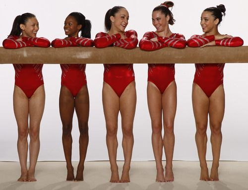 The 2012 U.S. Women's Gymnastics team poses for a photo...