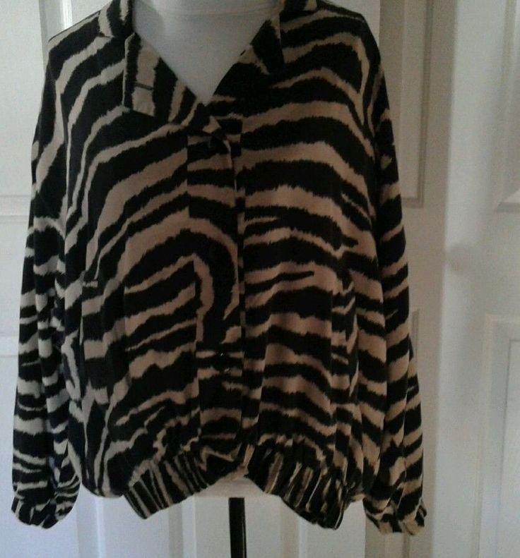 Ann May Ladies Button Up Blouse Top Sz M (runs large) Tan/Black Ladies #AnnMay #Blouse