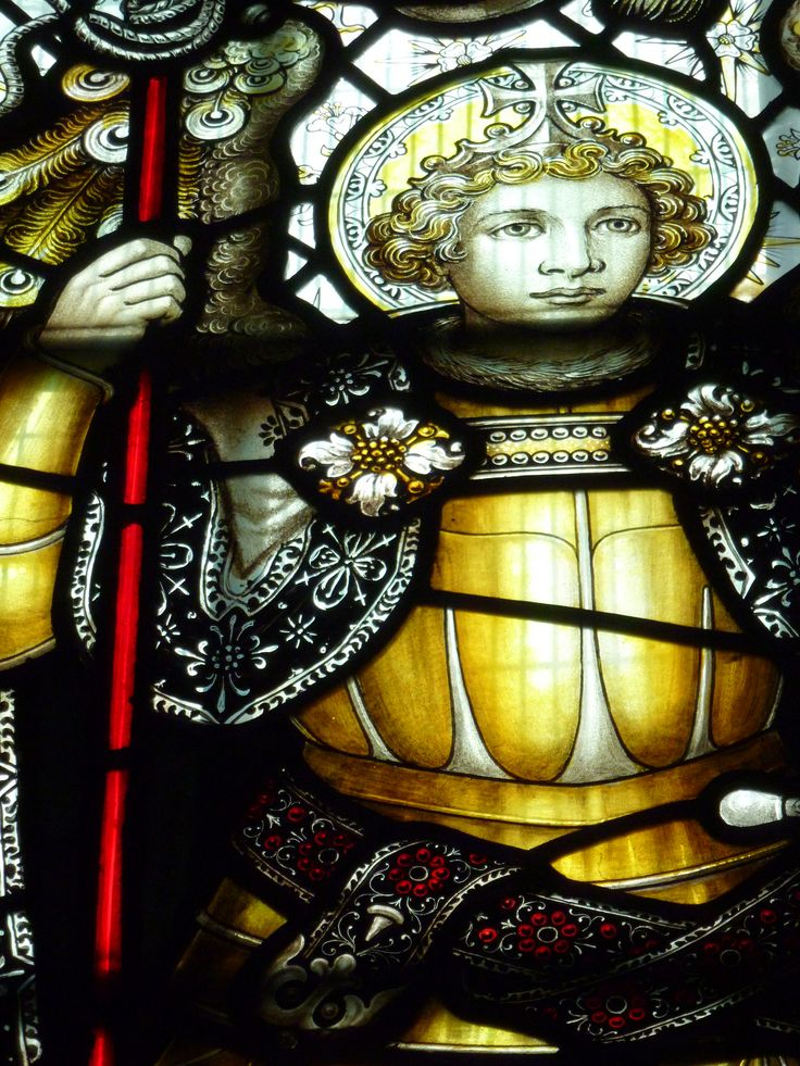 https://flic.kr/p/fuRRNe   Archangel Michael.   The design represents the Virgin Mary as a child surrounded by her parents and archangels.  St Wulfram's Parish Church, Grantham, Lincolnshire.   Archangel Michael.   The design represents the Virgin Mary as a child surrounded by her parents and archangels.  St Wulfram's Parish Church, Grantham, Lincolnshire.