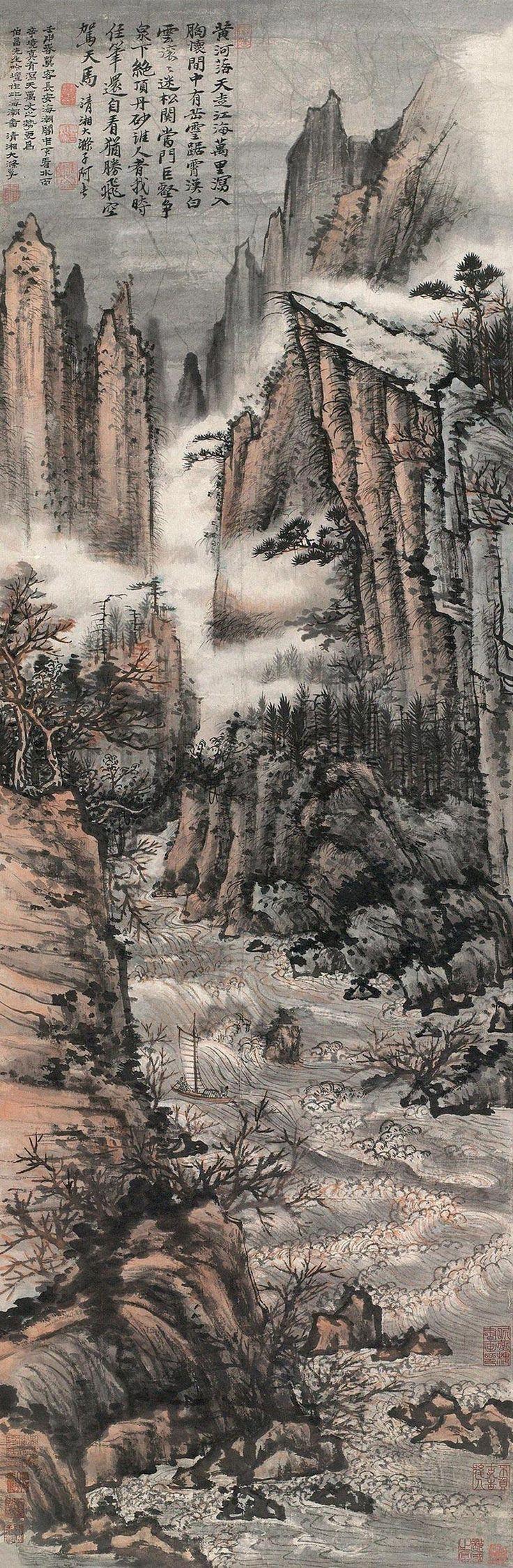 清代 - 石濤 - 海潮圖   1692年作           Shi Tao (1642–1707), was a Chinese landscape painter and poet during the early Qing Dynasty (1644–1911)