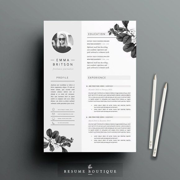 Resume Template 5 page pack | Petal by The.Resume.Boutique on @creativemarket Professional printable resume / cv cover letter template examples creative design and great covers, perfect in modern and stylish corporate business design. Modern, simple, clean, minimal and feminine style. Ready to print us letter and a4 layout inspiration to grab some ideas. In psd, indd, docs, ms word file format. #resume #cv #template #professional #word #modern #creative #design