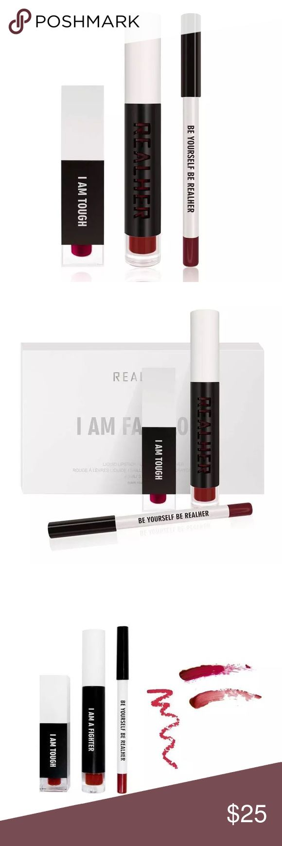 Realher DEEP RED lip liner lip gloss lipstick 👄 Realher~ I Am Fabulous Lipstick/Lip Gloss/Lip Liner Set ~DEEP RED New in sealed Box~ Matte Liquid Lipstick~Lip Plumping Lip Gloss~ Lip Liner~ Liquid Lipstick~4.5ML, Lip Gloss~3.5ML,  Lip Liner~1.2G Realher Makeup Lip Balm & Gloss