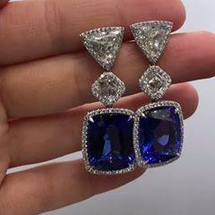 @dianamjewels. GIA certified rare blue gem earrings33.80carat tanzanite earrings with 7.50 ctsa asscher and trillion diamonds