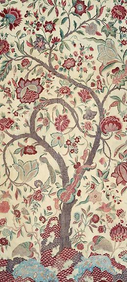"""Painted-And-Dyed Cotton Palampore """"Tree Of Life"""" Coromandel Coast for Europe 1700"""