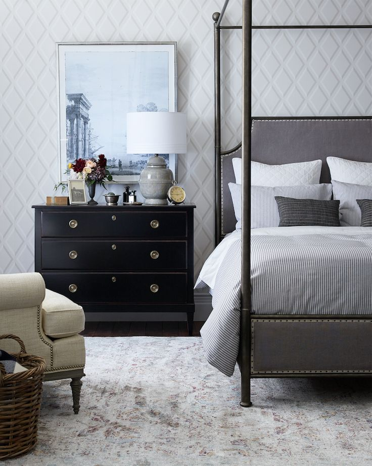 from ticking stripe linens to clean lined canopy beds this collection of classic