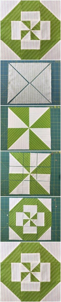 How to make a disappearing pinwheel block Learn how to make this block in less than 2 minutes. Materials Two 9 3/8 inch squares in contrasting fabrics Block size The finished block is 10 1/4 inch s...