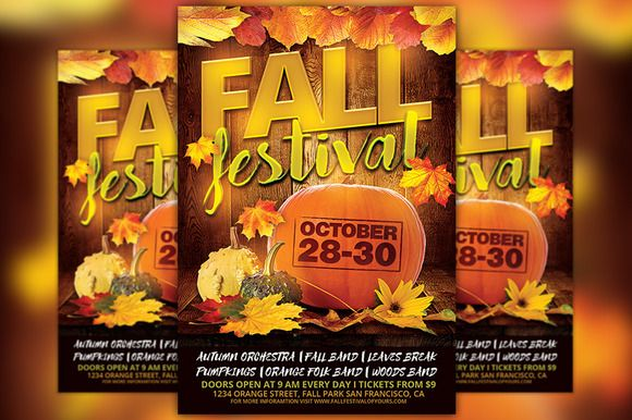Fall Festival Flyer Template by Flyermind on @creativemarket