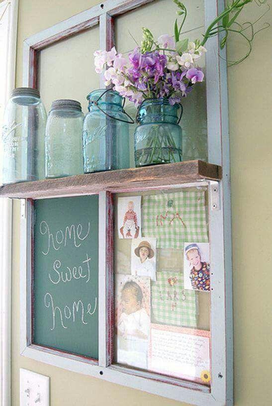Antique window shelf idea