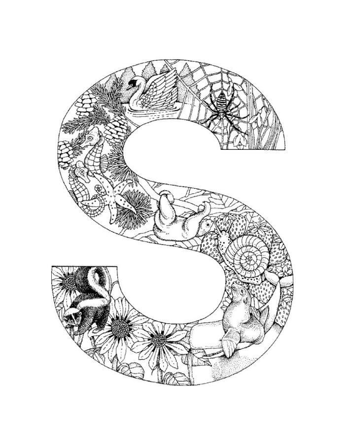 Letter S Coloring Pages for Adults Alphabet coloring