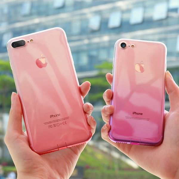5 Colors Gradient Phone Case For Iphone 8 7 6 6s Plus Luxury Silicon Soft Tpu Thin Back Cover For Iphone 5 6s 7 8 Plus Cases For Iphone X Wish Iphone T Mobile Phones Iphone Phone