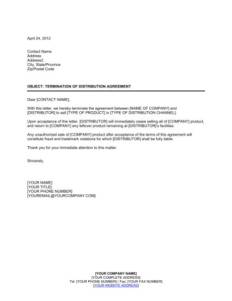 Printable Sample Contract Termination Letter Form Real