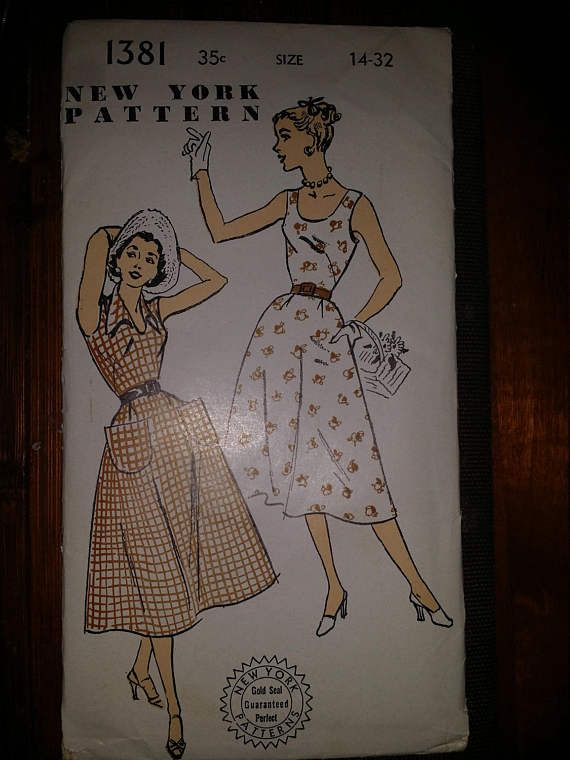 New York Pattern Size 14-32 Dress 1381 Gold Seal 1950s (hard to find )