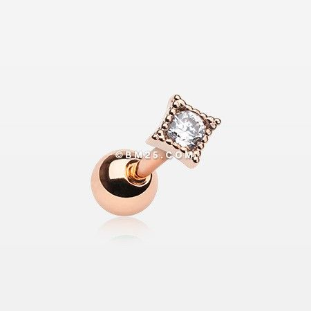 Rose Gold Dainty Diamante Sparkle Cartilage Tragus Barbell