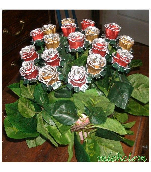 composition florale avec des capsules de nespresso