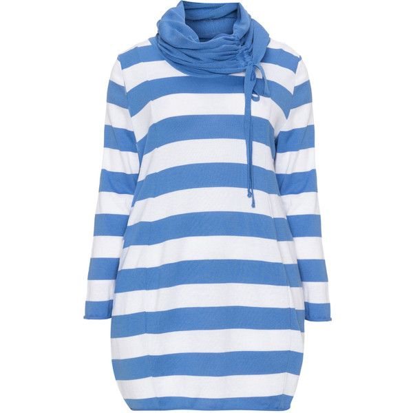 Isolde Roth Blue / White Plus Size Striped jumper with scarf (545 CNY) ❤ liked on Polyvore featuring tops, sweaters, blue, plus size, plus size long sleeve tops, plus size jumpers, stripe sweater, long white sweater and plus size sweaters