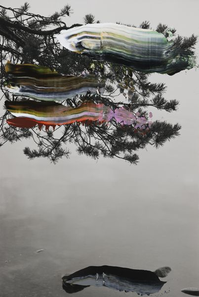 "Nanna Hanninen, ""Ashore I (Pine, Water, Stone)"" (2012) digital C-print on diasec, mounted on MDF with Oak frame."