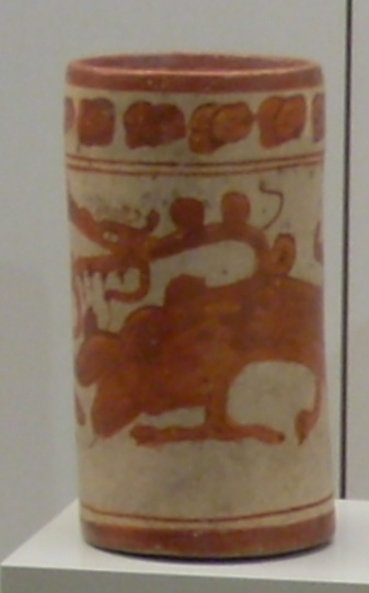 Late Classic Maya cup depicting a mythological beast. 600-900 AD, Peten Department, Guatemala. Item 91/11/51 in the Museum of the Americas, Madrid.
