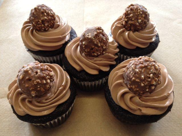 Ferrero Rocher cupcakes. Chocolate cupcakes and Nutella buttercream.