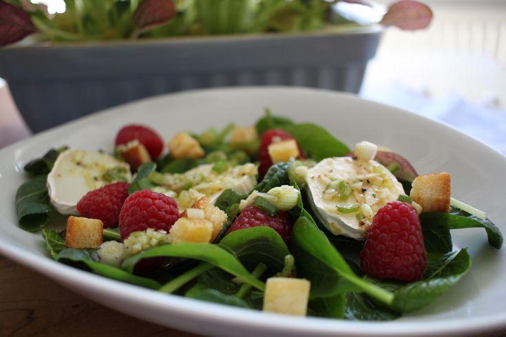Spinatsalat mit Ziegenkäse und Himbeeren, der perfekt Sommersalat  http://herzstueck-online.de/recipe/spinatsalat-mit-ziegenkaese/