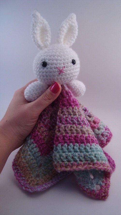 Crochet Bunny, Crochet Rabbit, Amigurumi Crochet Bunny, Bunny Lovey, Security Blanket, Newborn Baby Gift, Crochet Lovey Blanket