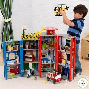 KidKraft - Everyday Heroes Wooden Play Set: Features: 3 floors and 12 rooms of open space fore fun, creative play;  Firefighter's pole, wide windows let kids look in and see from different points of view.  28 pieces of furniture, 2 bendable figurines and 2 bendable dogs, 3 fun vehicles – a helicopter, police motorcycle and a fire truck! Folds up for quick and easy storage   Large enough that multiple children can play at once. #alltotstreasures #kidcraft #everydayheroswoodenplayset…