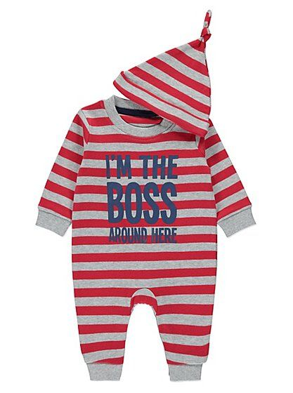 I'm the Boss Romper and Hat, read reviews and buy online at George at ASDA. Shop from our latest range in Baby. In case you need reminding who the boss is th...