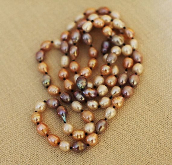 Long Pearl Necklace  Natural Baroque Pearls by karioi on Etsy, $346.00 http://etsy.com/shop/karioi
