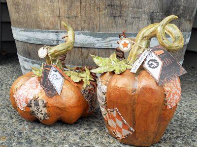 paper mache pumpkin @cassandra cooper @Echo Park Paper