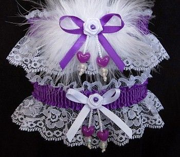 Gratify your wishes ~ Indulge yourself. Purple Prom Garters with matching double hearts a purple satin band & bow. One Keepsake Prom Garter with marabou feathers for HER and one keepsake for HIM. Visit: http://www.garters.com/Prom_Garters_More-37c.htm