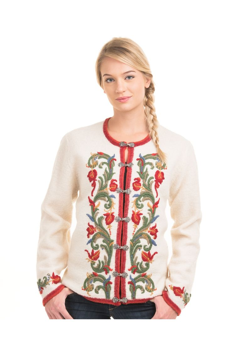 Jacket With Embroidery Flowers Ornaments Metal Clasps Traditional Norwegian design 100 % Wool Colour White/Red