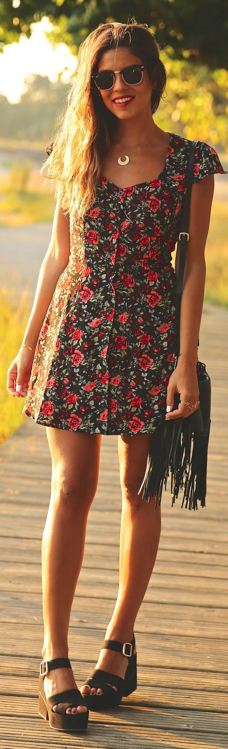 See sun shining through dress - Summer Trends Floral Dress Sandals