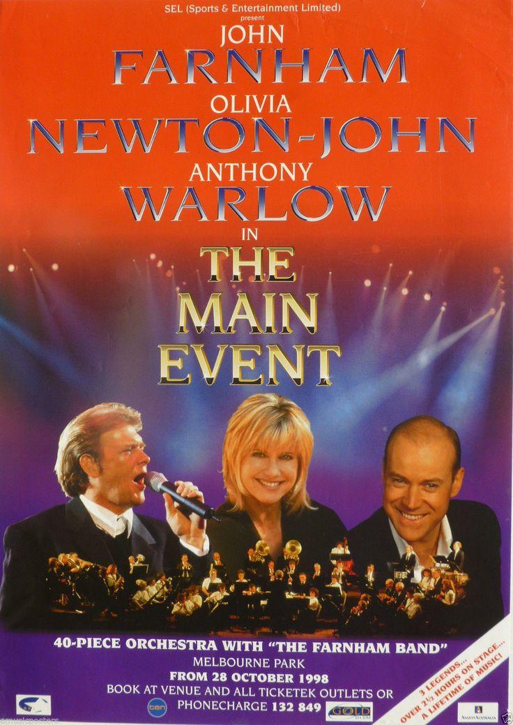 JOHN FARNHAM /OLIVIA NEWTON-JOHN /ANTHONY WARLOW 1998 AUSTRALIAN CONCERT POSTER