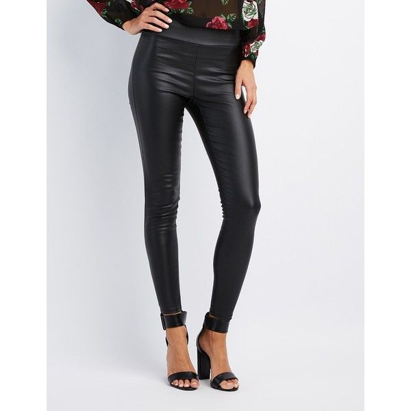 Charlotte Russe Coated High-Rise Leggings ($20) ❤ liked on Polyvore featuring pants, leggings, black, high-waisted leggings, skinny pants, high-rise leggings, high-waisted leather pants and high waisted pants