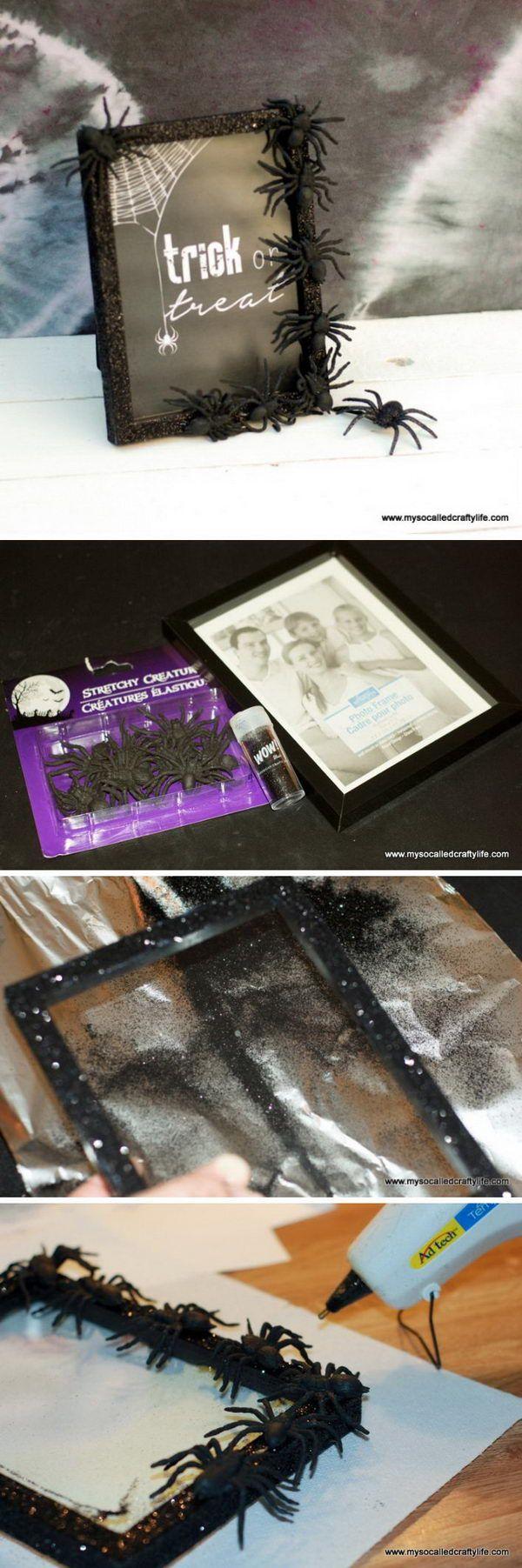 Easy DIY Halloween Spider Glitter Frame.