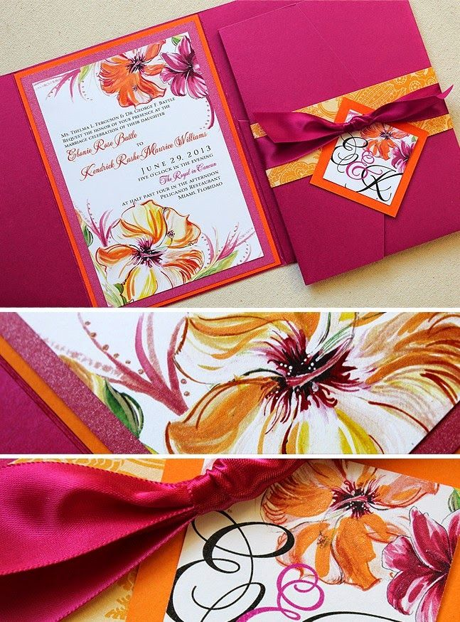 A Colorful Tropical Wedding Theme | Wedding Invitation. Read more: http://simpleweddingstuff.blogspot.com/2014/06/a-colorful-tropical-wedding-theme.html