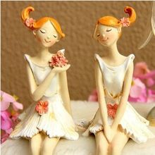 A pair Creative angels, Fairy, flowers, ornament, resin crafts, Home Furnishing arranged marriage room, wedding gifts, figurine~
