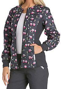 Cherokee Flexibles Midnight Owl print scrub jacket   Scrubs & Beyond